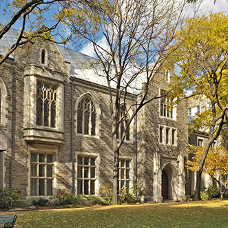 Photo of the building in fall foliage. Links to Gifts That Protect Your Assets.